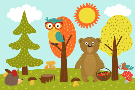 animals in forest picks mushrooms and berries Stock Illustratie