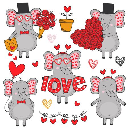 set of isolated elephant in love part 1 - vector illustration, eps Illustration