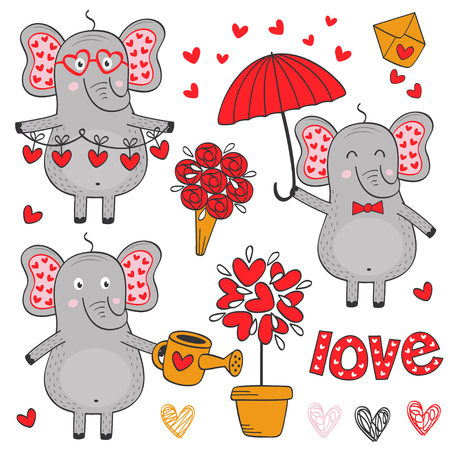 set of isolated elephant in love part 2 - vector illustration, eps Illustration