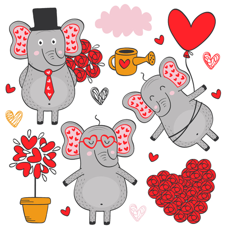 set of isolated elephant in love part 3 - vector illustration, eps