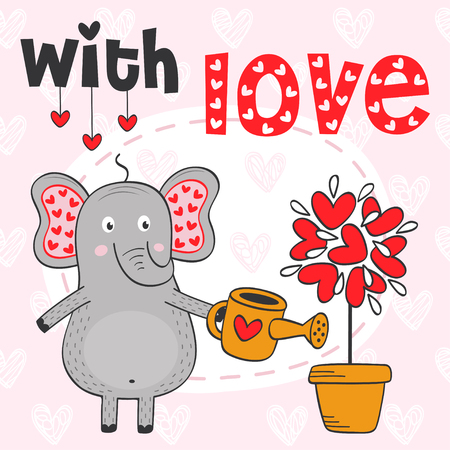 valentine elephant and tree out of hearts vector illustration.