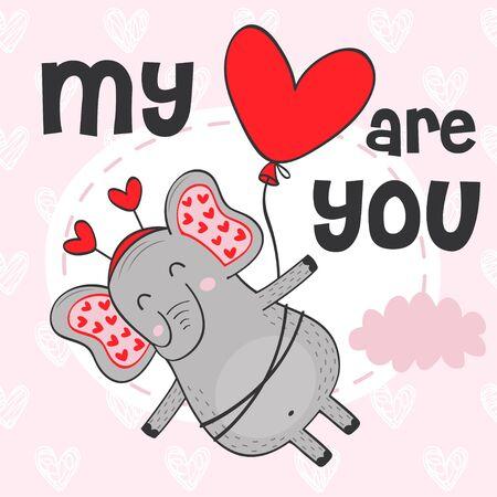 Valentine elephant flies on balloon - vector illustration.