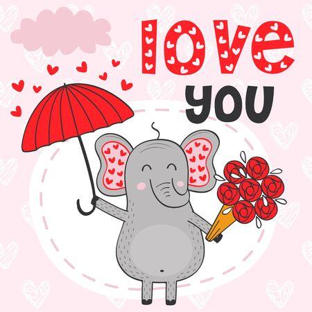 Valentine elephant under umbrella with bouquet of flowers. Vector illustration Illustration