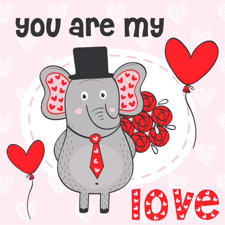 Valentine elephant with bouquet of flowers - vector illustration, eps.