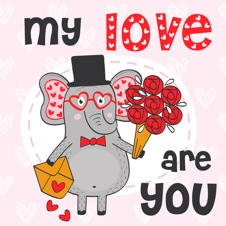 valentine elephant with bouquet of flowers and envelope - vector illustration, eps