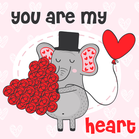 Valentine elephant with heart of flowers - vector illustration, eps