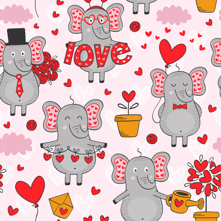 Seamless pattern with elephant in love in color - vector illustration