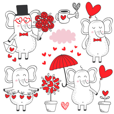 Set of isolated elephant in love black and white part 1 - vector illustration Иллюстрация