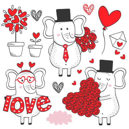 set of isolated elephant in love black and white  vector illustration. Illustration