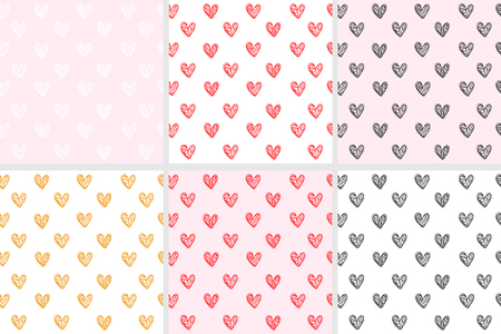 Set of seamless pattern with hearts - vector illustration, eps