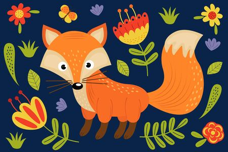 Cute fox and plants - vector illustration on blue background. 向量圖像