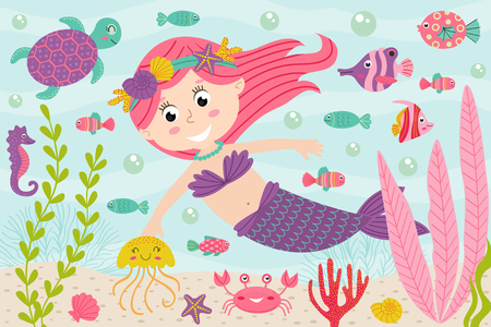 Mermaid underwater with nautical animals - vector illustration.