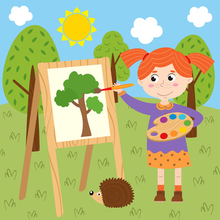 Girl draws on canvas in the forest - vector illustration.