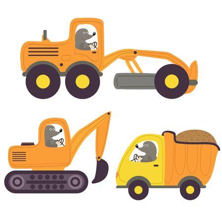 Mole and working transport - vector illustration. Illustration
