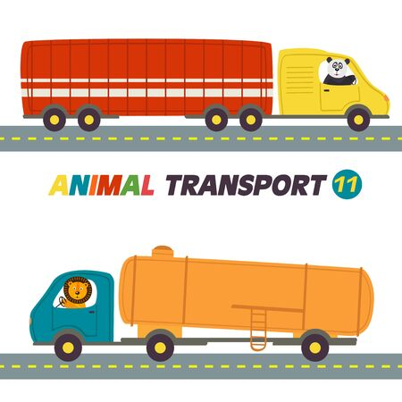 Set of isolated transports with animals part - vector illustration. Illustration