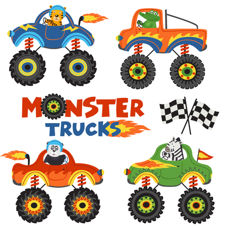 set of isolated monster trucks with animals part 1 - vector illustration, eps