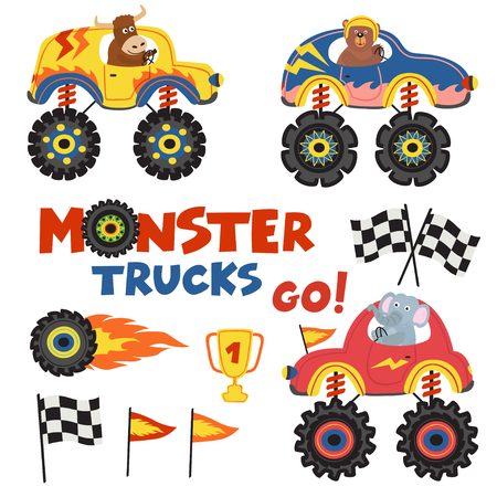 set of isolated monster trucks with animals part 2 - vector illustration, eps Illustration