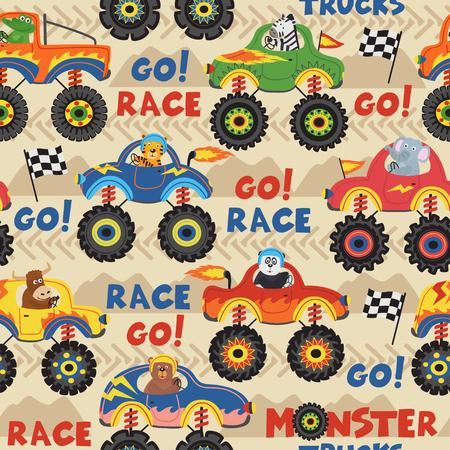 caminhões de monstro sem costura padrão com animais em corridas - ilustração vetorial, eps