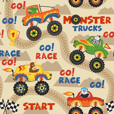 seamless pattern monster trucks with animals on race track - vector illustration, eps Illustration