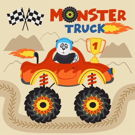 panda champion is riding monster truck - vector illustration, eps Illustration