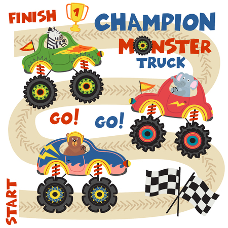monster trucks with animals on race track - vector illustration, eps
