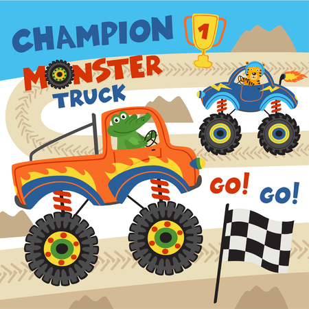monster trucks with animals on races- vector illustration, eps