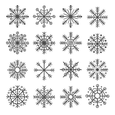 Set of isolated decoration snowflake vector illustration Illustration
