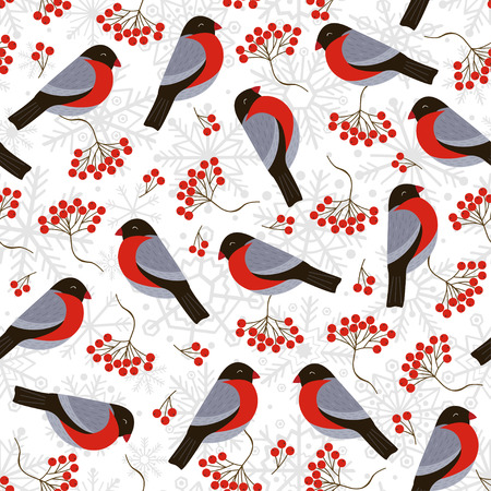 Seamless pattern with bullfinches and rowan - vector illustration. Illustration