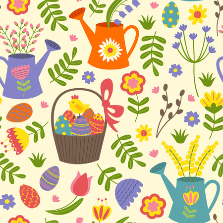 seamless pattern with Easter eggs and flowers - vector illustration, eps Vectores