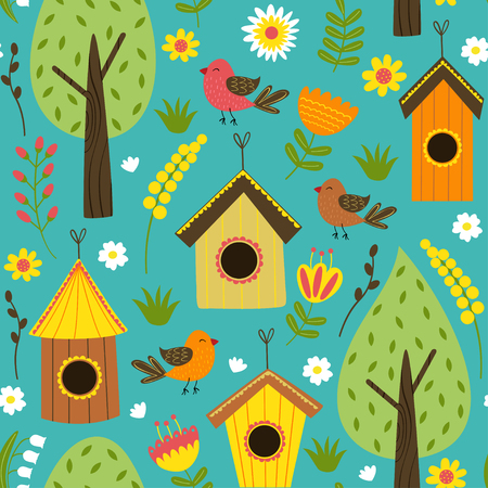 Pattern with houses for birds vector illustration