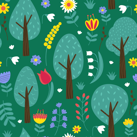 Pattern with trees and flowers vector illustration