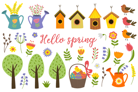 set of isolated elements of spring - vector illustration, eps Иллюстрация