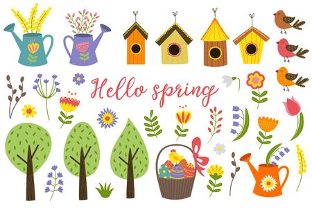 zestaw izolowanych elementów wiosny - ilustracji wektorowych, eps