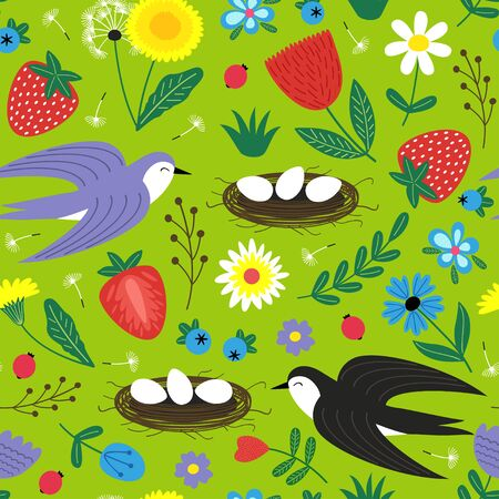 Seamless pattern with bird and nest - vector illustration.