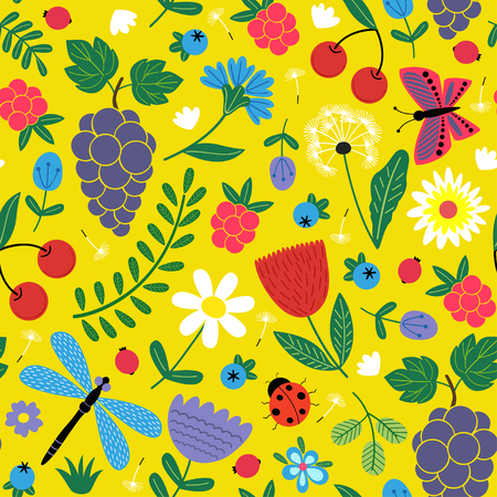 seamless flowers pattern with berries and insect - vector illustration, eps