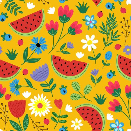 Seamless flowers pattern with watermelon - vector illustration. Illustration