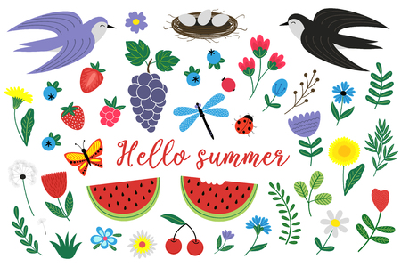 set of isolated elements of summer - vector illustration, eps 일러스트