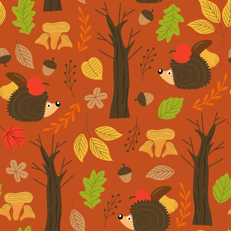 Pattern with hedgehog vector illustration