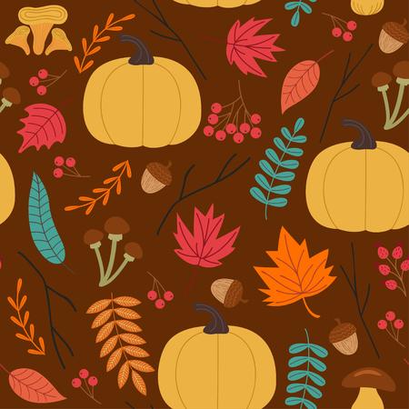 Autumn pattern with pumpkin vector illustration Illustration