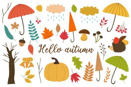 set of isolated elements of autumn - vector illustration, eps Illustration