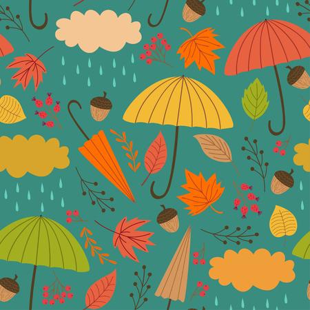 Seamless autumn pattern with umbrella - vector illustration. Vektorové ilustrace