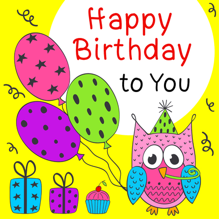 Happy Birthday Card With Funny Owl Vector Illustration Eps Royalty