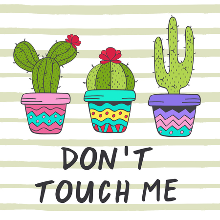 poster with fun cacti - vector illustration, eps