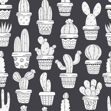 seamless pattern with cactus in pots black and white - vector illustration, eps