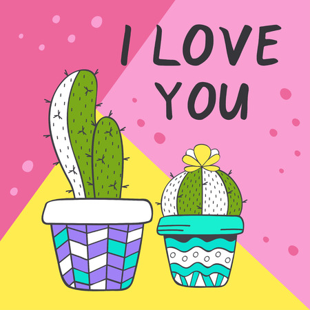 love card with cute cacti - vector illustration, eps