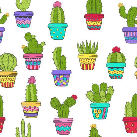 seamless pattern with cactus in color - vector illustration, eps