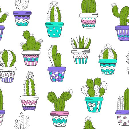 seamless pattern with cactus - vector illustration, eps