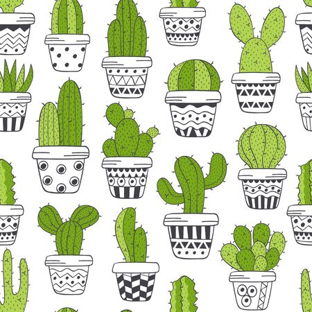 seamless pattern with green cactus in pots black and white - vector illustration.