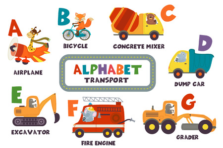 alphabet with transport and animals A to G - vector illustration, eps Stock Illustratie