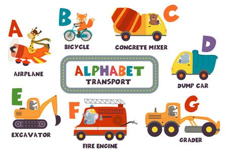 alfabet z transportem i zwierzętami od A do G - ilustracja wektorowa, eps